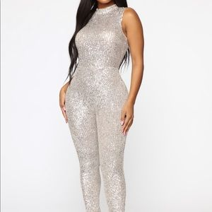 Fashion Nova Brighter Than A Star Sequin Jumpsuit
